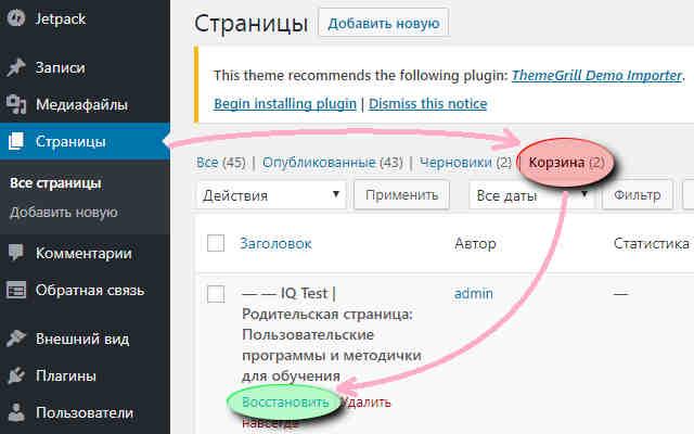 Восстановление страницы в WordPress